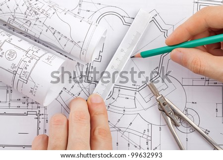 The development of technical project - stock photo