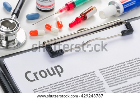 The diagnosis Croup written on a clipboard - stock photo