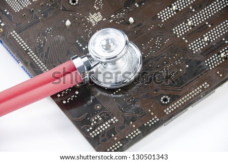 The diagnosis of the circuit board - stock photo