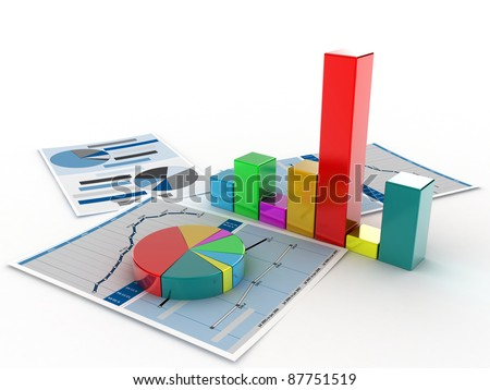 The diagramme which shows the statistical data - stock photo