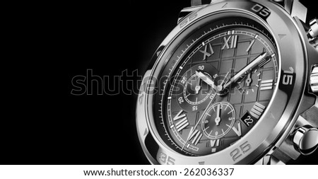 The dial wristwatch close-up - stock photo