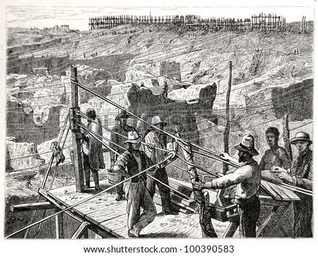 """The diamond diggings at Kimberley-Kopje in 1872, drawn by J. Vanione in Emil Holub's """"Seven Years in South Africa"""", published in Vienna, 1881 - stock photo"""