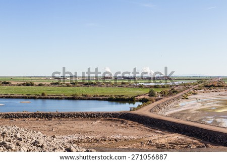 The diminishing water table at the Salton Sea, View from the Sonny Bono National Wildlife Refuge in California - stock photo