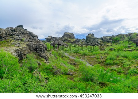 The Dimmuborgir area, with various volcanic caves and rock formations. Near Lake Myvatn, Northeast Iceland - stock photo