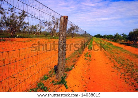 The dingo fence. This is the longest fence in the world. It is in Australia - stock photo