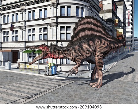The Dinosaur Spinosaurus in the City Computer generated 3D illustration - stock photo