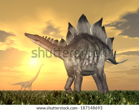 The Dinosaurs Stegosaurus and Mamenchisaurus at sunset Computer generated 3D illustration - stock photo