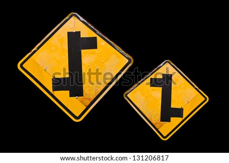The Direction sign turn left and turn right. - stock photo