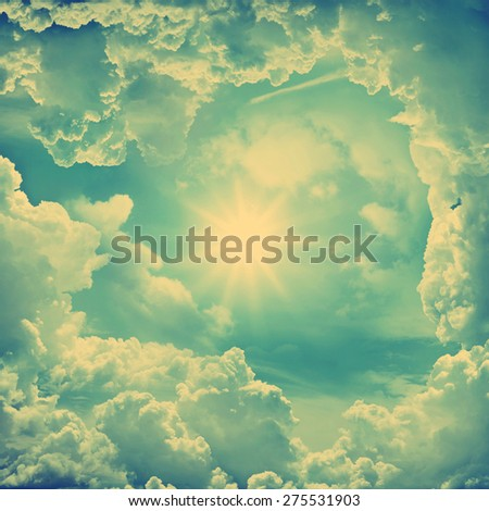 The divine sky. Retro stale. - stock photo
