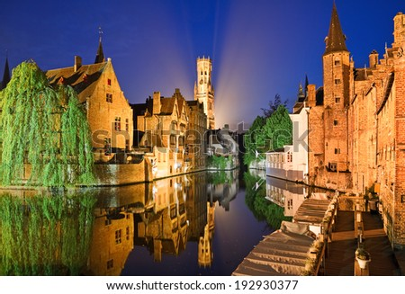 The dock of the Rosary (Rozenhoedkaai) at night, Bruges, Belgium. - stock photo