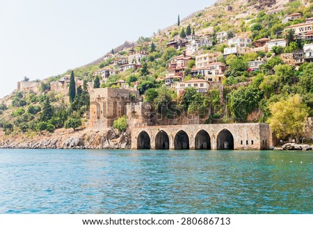 The dockyard of Alanya, Turkey (Seljuk tersane)  - stock photo