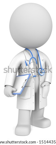 The Doctor. Dude the Doctor. Holding clipboard. Blue theme color. - stock photo