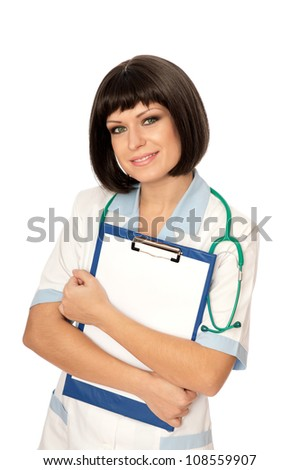 The doctor holding clipboard with blank paper in the hand - stock photo