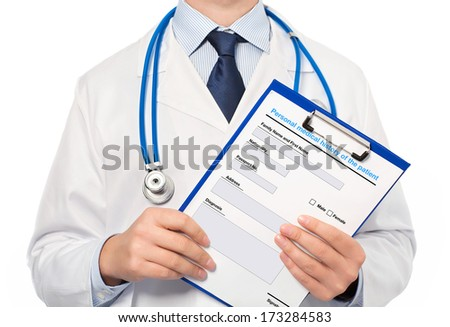 The doctor in a white coat with a stethoscope holding a folder with history - stock photo