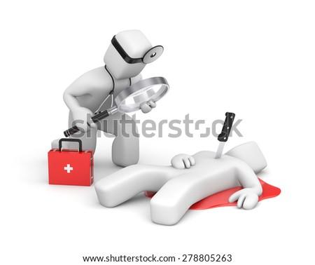 The doctor investigates the murder victim - stock photo