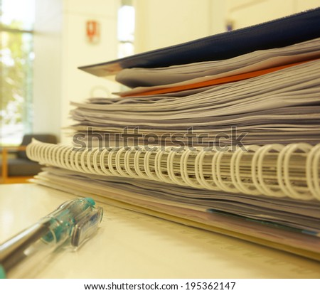 The documents and information in the office on the desk in the office.                               - stock photo