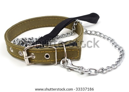The dog collar and leash are isolated on a white background - stock photo