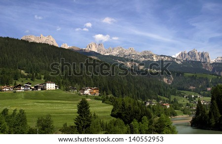 The Dolomite mountains. - stock photo