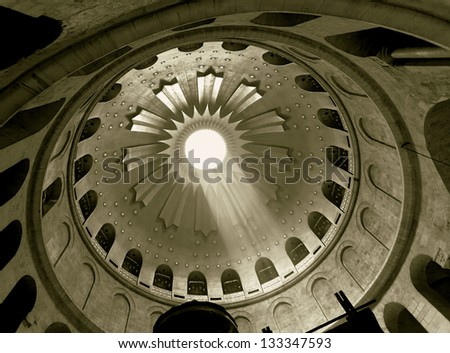 The dome of Church of the Holy Sepulchre in Jerusalem, Israel (stylized retro) - stock photo