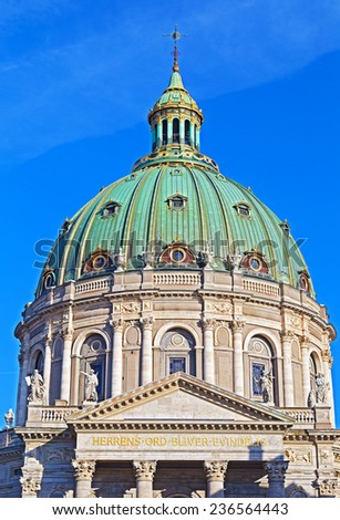 The Dome of Frederik's Church in Copenhagen. Frederik's Church, famous for its rococo architecture, is an Evangelical Lutheran church. The Church design was inspired by St. Peter's Basilica in Rome. - stock photo