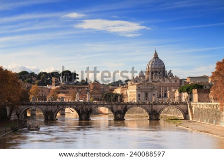 The Dome of Saint Peter as seen from the river Tiber, Rome, Italy - stock photo