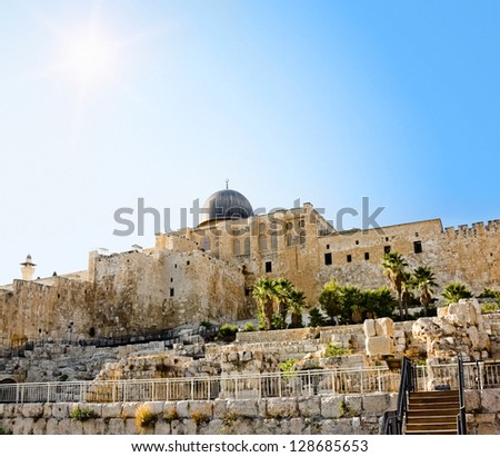 The dome of the Al-Aqsa Mosque on the Temple Mount in Jerusalem - stock photo