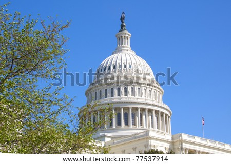The Dome of the U.S. Capitol Against a Bright Blue Sky on a Spring Day - stock photo