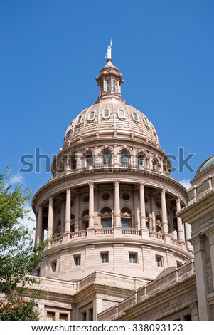 The dome on top of the Texas Capital building in downtown Austin, Texas, USA. - stock photo