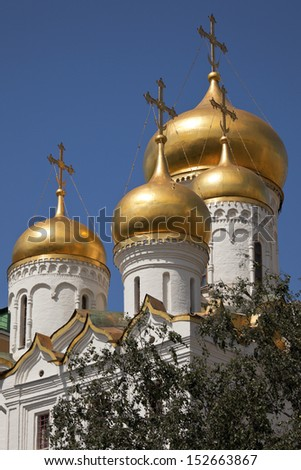 The domes of the Annunciation Cathedral of the Moscow Kremlin, Russia. - stock photo