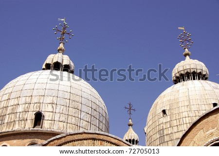 The domes of the San Marco Basilica in Venice in Italy - stock photo