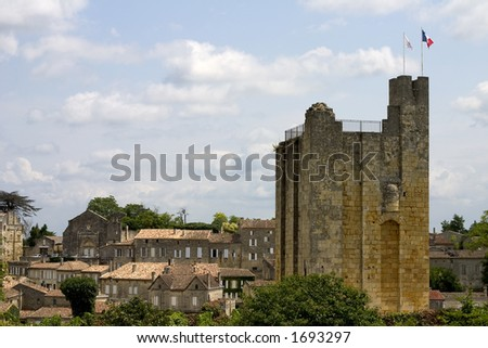 "The donjon tower (""castel daou rey"" or king's castle) in Saint-Emilion, Gironde, Aquitaine, France - stock photo"