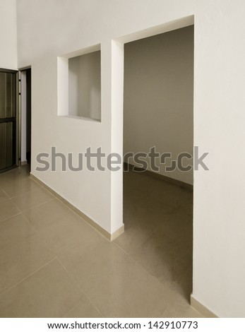 The door and window on white. Fragment of the office, building hall, lobby, doors and windows. Interior design. - stock photo