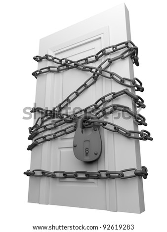 The door closed is wound by a chain with the lock - stock photo