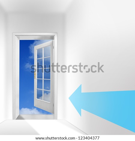 The door to heaven. New way with hope concept. Picture with space for your text. - stock photo