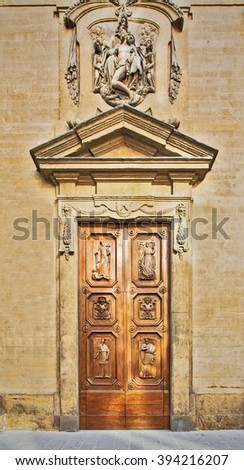 The door to the old-style province in Italy - stock photo