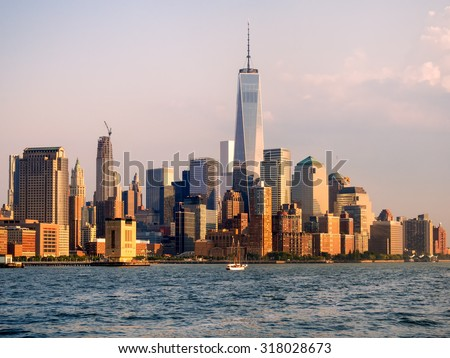 The downtown Manhattan skyline at sunset - stock photo