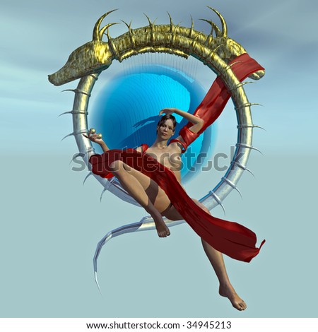 The Dragon Queen rests naked draped only in red blowing silk, suspended on thrown of golden bone on blue background. Illustration. - stock photo