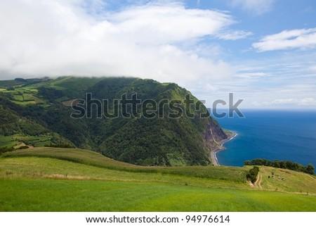 The dramatic coast on the Sao Miguel island, Azores - stock photo