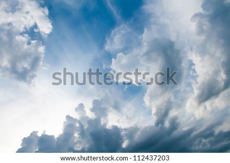 the dramatic sky with clouds - stock photo