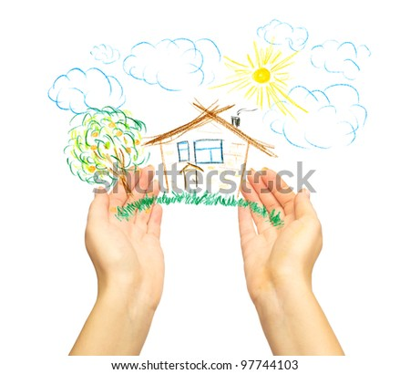 The drawing house in human hands. Isolated on white - stock photo