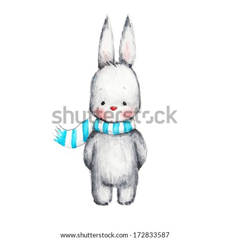The Drawing of Cute Bunni in Scarf - stock photo