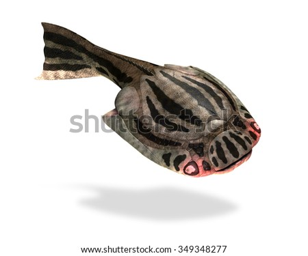 The Drepanaspis was a prehistoric fish that lived during the Devonian Period - 3D render. - stock photo
