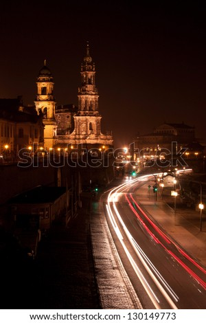 the Dresden with colorful lights at night - stock photo
