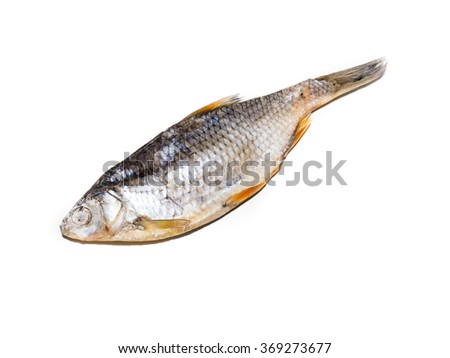 The Dried Fish on a white background. - stock photo