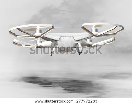 The Drone . New technology for war. Digital artwork fictional vehicle on UAV theme. - stock photo