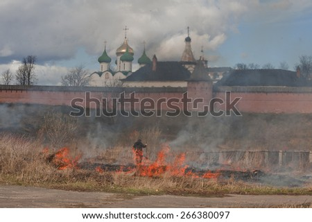 The dry grass on the background of the Slavic Cathedral - stock photo
