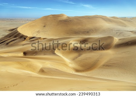 The Dune 7 in Sossusvlei plato of Namib Naukluft National Park - Namibia, South-West Africa - stock photo