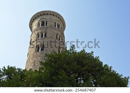 The Duomo Campanile  (bell tower) was built in the 10th century in Ravenna, Italy  - stock photo
