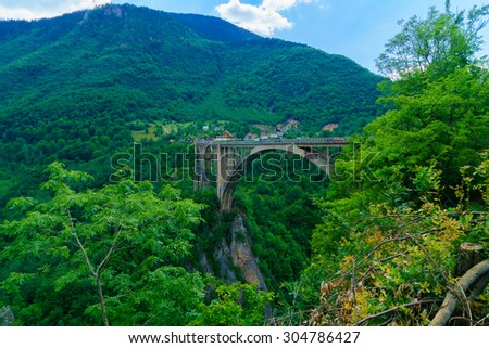 The Durdevica Tara Bridge, across the Tara River Canyon, in northern Montenegro - stock photo