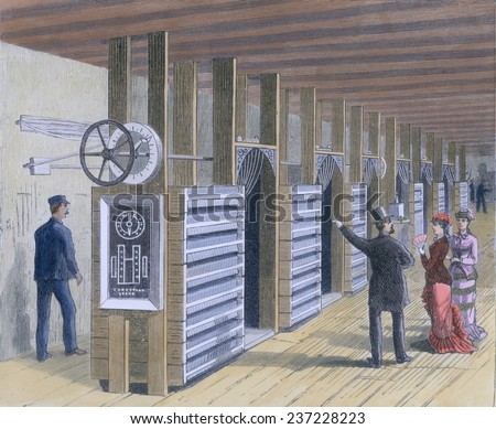 The Dynamo Room in the first Edison Electric Lighting Station at Pearl Street in lower Manhattan in 1882, Engraving with modern watercolor. - stock photo